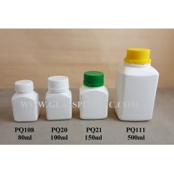 Plastic  Square Tablet HDPE Bottle - 80ml to 500ml