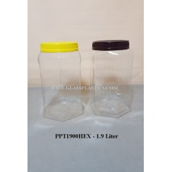 Hexagon PET Jar - 1.9 Liter